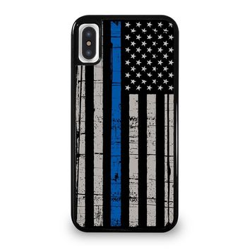 THIN BLUE LINE FLAG iPhone 5/5S/SE 5C 6/6S 7 8 Plus X/XS Max XR Case Cover