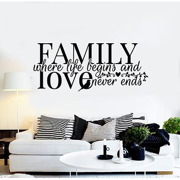 Vinyl Wall Decal Family Quote Words Inspiring Bird Art Home Decor Stickers Mural (g852)