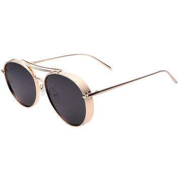 Golden Double Bridge Aviator Sunglasses