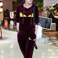 """FENDI"" Women Casual Fashion Thickened Velvet Little Monster Long Sleeve Hooded Sweater Trousers Set Two-Piece Sportswear"