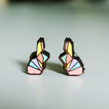 Cute Wood Earrings Hand Paint Bunny Rabbit Shape, Wooden Rabbit Ear studs, mini 1 cm. Real Wood ear studs, 100 % Hand Painted Wood earing
