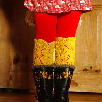 Kids Lace Boot Cuffs, Knitted Boot Cuffs, Prescoolers Lace Boot Toppers, Boot Toppers,Girls Boot Sock, Lace Leg Warmers, Lace Boot Toppers,
