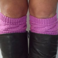 Purple Boot Cuffs Cable Knit Lady Slipper Boot Liners Toppers