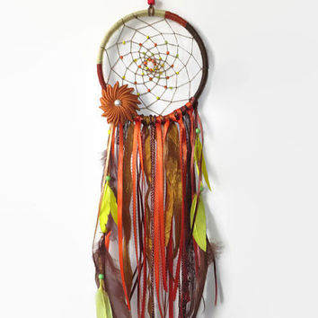 Orange Dream Catcher. FREE SHIPPING. Large Dream Catcher. Baby Mobile.Bohemian Decor. Hanging Decoration.
