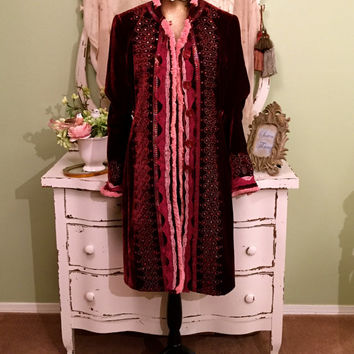 Ornate Bohemian Coat, Gypsy Velvet Trench, Long Folk Jacket, Art To Wear, Maroon Wine Pink, Cowgirl Silk Velvet Sequin Coat, Womens  Medium