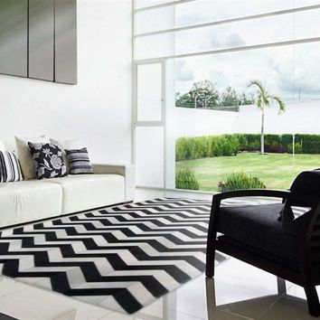 Madisons Black and White Cowhide Patchwork Rug - Chevron Pattern