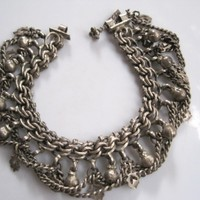 Vintage Silver Tribal Indian Anklet or Bracelet from Rajasthan for very slender wrist or ankle