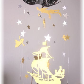 Peter Pan Nursery Mobile, Star Mobile, Nursery Bedding, Neutral Nursery Decor, Baby Shower Gift,  Nautical Stars Mobile,