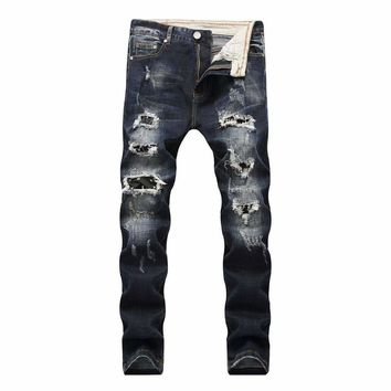 Biker Jeans Mens Hip Hop Mens Ripped Jeans Vintage Retro Slim Denim Pants Male Distressed Street