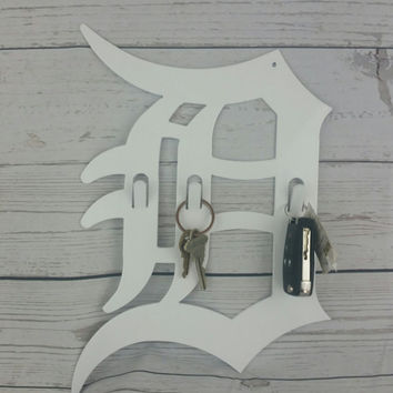 Detroit D Metal Key Chain Holder for Father's Day Gift or Wall Art Display Keepsake Christmas Gift White Steel Powder Coated Home Decor