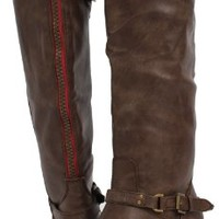 Dark Tan Faux Leather Bold Red Back Zipper Buckle Riding Boot Nakia Tan/Red,Nakia-Tan-Red 7
