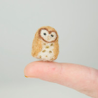 Miniature Needle Felted Pocket Barn Owl in Tan and Brown