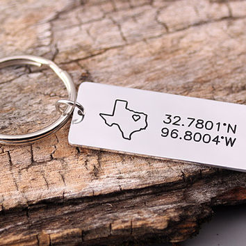GPS Alloy keychain - Alloy Latitude Longitude Key Chain - Texas Keychain - Can be made with any city, states or countries