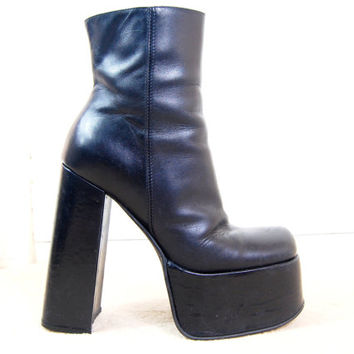 90s Grunge Goth Clubkid Black Leather Huge Mega Heel Square Toe Italian Made Chunky Platform Ankle Boots UK 5 / US 7.5 / EU 38