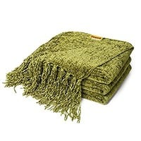 Decorative Throw Blanket Sofa / Couch Chenille Throw Blanket 60 X 50 Inches, Olive Green