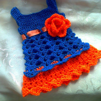 Blue and orange crochet baby dress , newborn dress , matinee dress