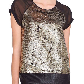 Girls Night Out Top - Gold/Black