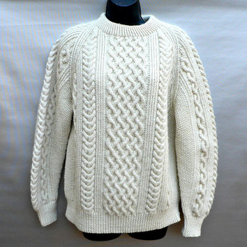 Scottish Hand Knit Wool Sweater - Thick Knit Fisherman Style - Off-White - Unisex - Man's S /Women's M - L