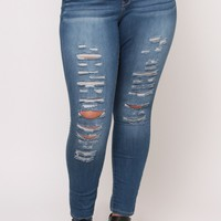 Plus Size Distressed Ripped Skinny Jeans - Medium Wash