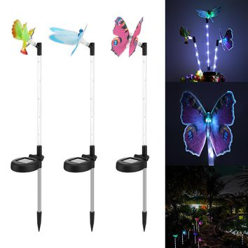 Lumiparty Color Changing Solar Stake Light Solar LED Butterfly Hummingbird  Dragonfly Stake Mixed Light for Garden Decorations