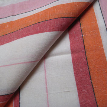 Vintage Tea Towel Yardage Pink Red Orange Stripe Rustic Farmhouse Linen Blend 5 Yards Continuous Barware Craft Fabric Material UNUSED Clean