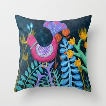 Night Jungle Throw Pillow by Noonday Design