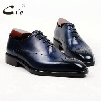 square toe cut full brogues medallion handmade men shoe bespoke leather shoe genuine calf leather men's dress