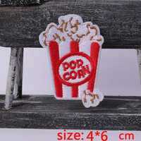2016year New arrival 1PC Popcorn food Iron On Embroidered Patch For Cloth Cartoon Badge Garment Appliques DIY Accessory