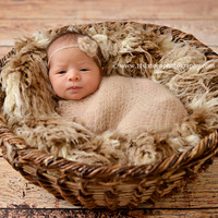 African Beige Brown Faux Flokati Fur Newborn Photography Prop