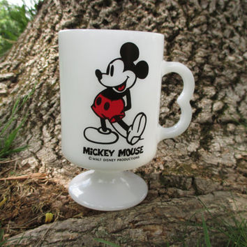Vintage Mickey Mouse Milk Glass Mug