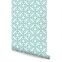 Diamond Flower Wallpaper - Mint - Peel and Stick