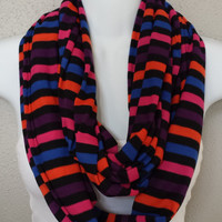 Mixed Berries Striped Knit Scarf Womens Fashion Scarves Girls Circle Scarf Fall Scarf Back to School Colorful Scarf