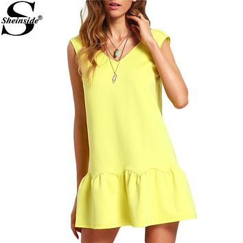 Sheinside Ladies Ruffle V Neck Backless Drop Waist Elegant Mini Dresses 2016 New Casual Summer Style Sexy Dress