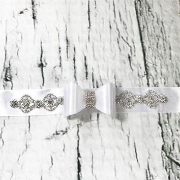 Fancy White and Silver Rhinestones and  Bow Sash