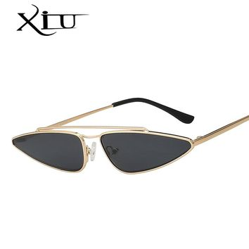 XIU Brand Design Cateyes Sunglasses Women 2018 NEW Fashion Glasses Metal Frame Top Quality Vintage  UV400