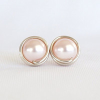 Light Pink Pearl Stud Earings, Pink Earrings, Wire Wrapped Jewelry Handmade, Pale Pink Ear Studs