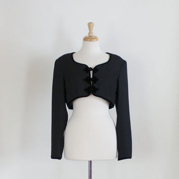 80s Maggy London Black Crepe Boloero
