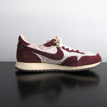 80s Nike sneakers - vintage 1983 Metro Graphics grid brown maroon suede leather retro running athletic plaid shoes unisex mens womens rare