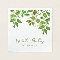 Elegant Greenery Botanical Foliage Wedding Paper Napkin