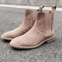 Chelsea boots men brand designer New martin style slp Genuine Leather ankle boots men tan west Vintage boots male shoes