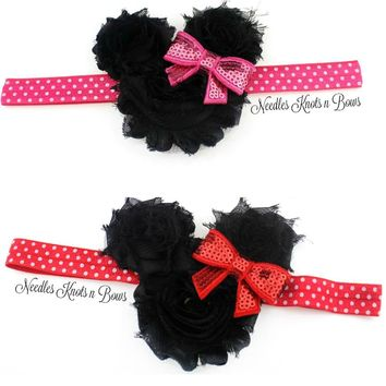 Girls Minnie Mouse Shabby Chic Headband, Baby Girls, Toddlers Hair Accessories, Minnie Mouse Headband