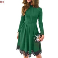 Quality Elegant OL Women Lace Splicing Dress Casual Long Sleeve Autumn Winter Dress Office O-Neck Pleated Dress Green SV029667