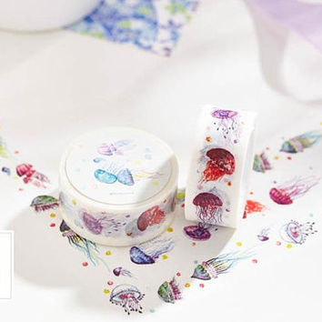 Jellyfish Masking tape 10M dancing jelly fish washi tape deep marine animal sea jellies deco tape paper masking tape fancy oceanic world