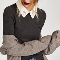 SWEATER WITH REMOVABLE BEJEWELLED COLLAR