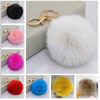 Cute Rabbit Fur Ball Key Chains Ring Mobile Phone Tag Bag Accessories Gift = 1931912580
