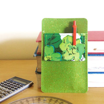 "Nerd Power Vinyl Pocket Protector in lime green sparkle vinyl /  green ""garden party"" floral oilcloth"