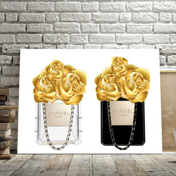"Printable art ""PERFUME BOTTLE CHANEL Print,Prints and quote,Digital print,Coco Chanel print,Instant Download,Fashion Perfum Bottle,Gold Rose"