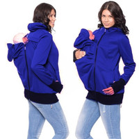 Women Autumn Winter Thicken Baby Wearing Coat Plus Size Zipper Sweatshirt For Pregant Hoodies Baby Carrier Jacket 71959 SM6