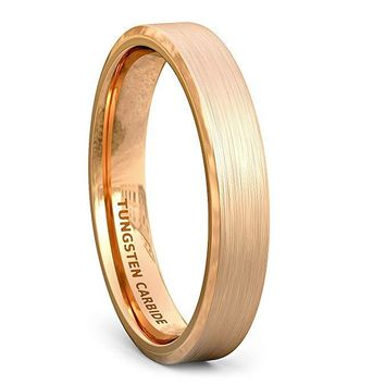 Rose Gold Tungsten Wedding Ring For Women Beveled Edge and Brushed Finish - 4mm