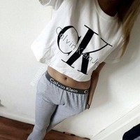 """Calvin Klein Jeans"" Letter and Logo like Print Short Bare Midriff Sleeve Women Casual Sweatshirt Shirt Top Blouse T-Shirt and Sweatpants Set (2 pc)"